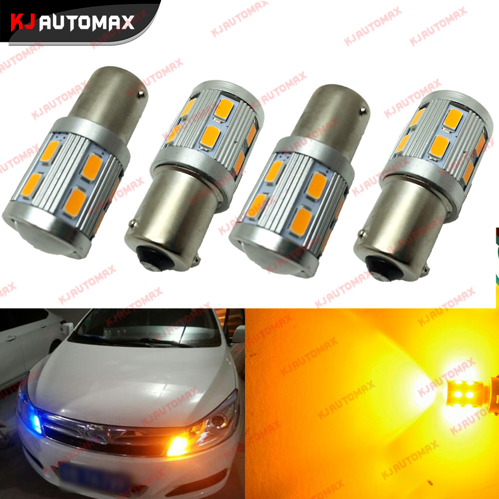 4pcs Amber Yellow BAU15S 7507 PY21W 1156PY LED Bulbs 13-SMD 5730 LED For Front Rear Turn Signal Lights for Most Janpanese Cars ijdm no hyper flash 21w high power amber bau15s 7507 py21w 1156py led bulbs for car front or rear turn signal lights canbus 12v