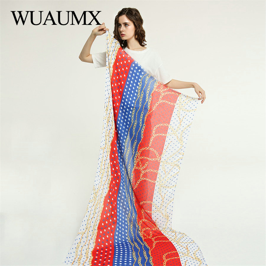 Wuaumx Brand NEW Scarf Women Dot Pattern Hijab Scarf Ladies Bandana Sunscreen Scarves Beach Shawls And Wraps sjaal Foulard Femme in Women 39 s Scarves from Apparel Accessories