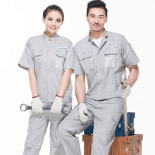 Summer Factory Workshop Uniform Labor Protection Clothing Breathable Fabric Men Mechanic Overalls Repair Work Wear 90(China)
