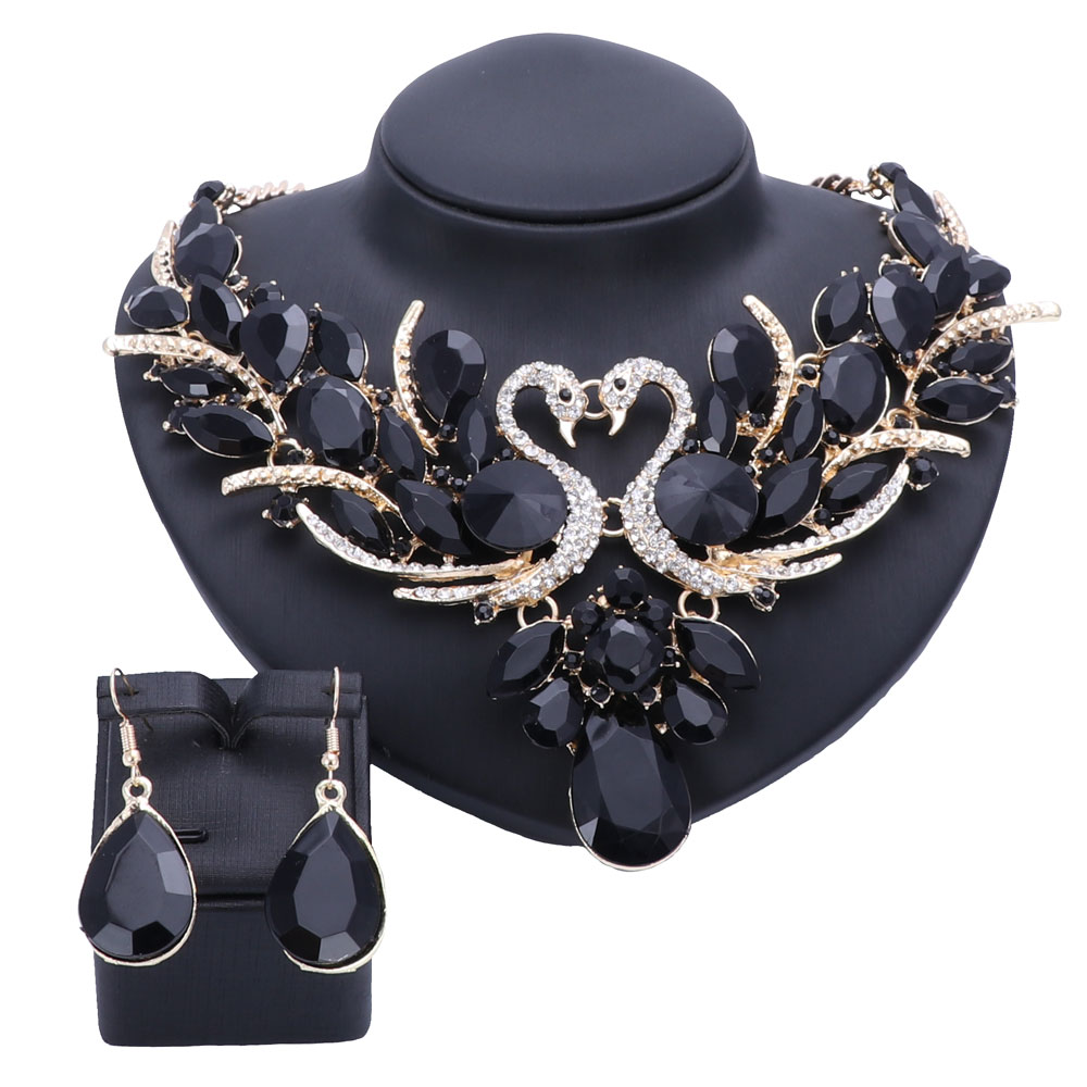 Fashion Crystal Bridal Jewelry Sets Double Swan Gold Color Women Gift Party  Wedding Prom Necklace Earring