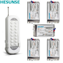 Y-F211C1N5 Hesunse Five Ways Digital RF Wireless Remote Control Switch 220V 5Ch Metal Receivers And 1 Transmitter 110V 315mhz