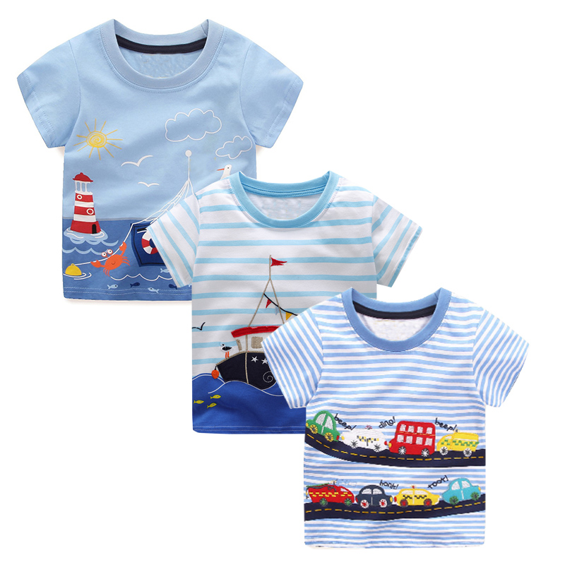 3PCS Boys Summer Tops Tee Shirts Fille Kids Clothes 2018 Brand Children T shirts for Boys Clothing Animal Pattern Baby T-shirt boys t shirts birthday age number print kids girls tee tops 100% cotton baby clothing boys t shirts summer clothes wua7430010