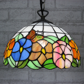 10inch  Country butterfly flower Tiffany pendant light Country Style Stained Glass Lamp for Bedroom E27 110-240V