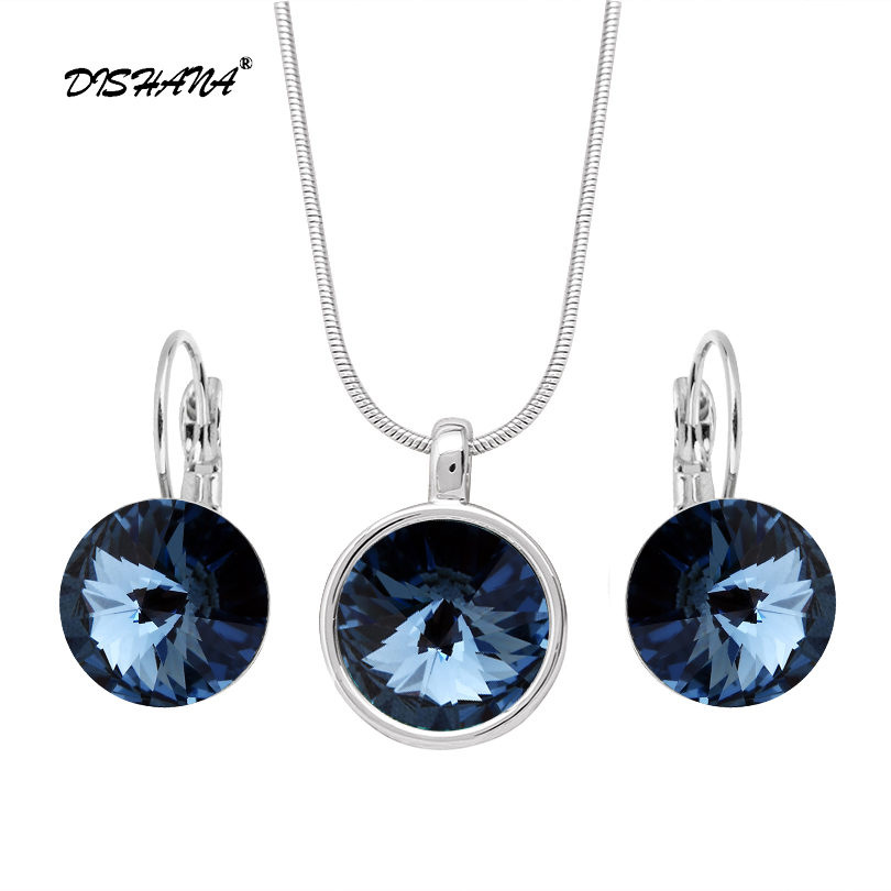 Austrian Crystal Necklace And Earrings Jewelry Sets Bridal Wedding Accessories Nickel Free Women Fashion Jewelry Set