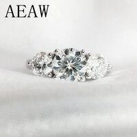 2ctw 6,5 мм круглый разрез обручение и свадебные Муассанит Diamond двойное кольцо Halo Кольцо Платиновое серебро
