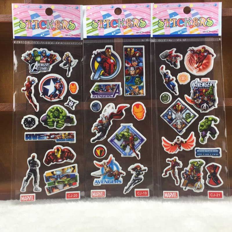 Image 2 - 10 Sheets Avengers DIY Stickers SuperHeros Pegatinas Toy Iron Man Hulk Captain America Decals For Scrapbook Kids Gifts-in Stickers from Toys & Hobbies
