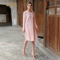 VOA плюс размеры жемчуг бисер офисные шелковые платья Элегантный розовый для женщин миди платье с длинным рукавом vestidos modis befree sukienki A7717