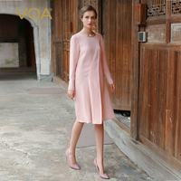 VOA Plus Size Pearl Beading Office Silk Dresses Elegant Pink Women Midi Dress Long Sleeve vestidos modis befree sukienki A7717