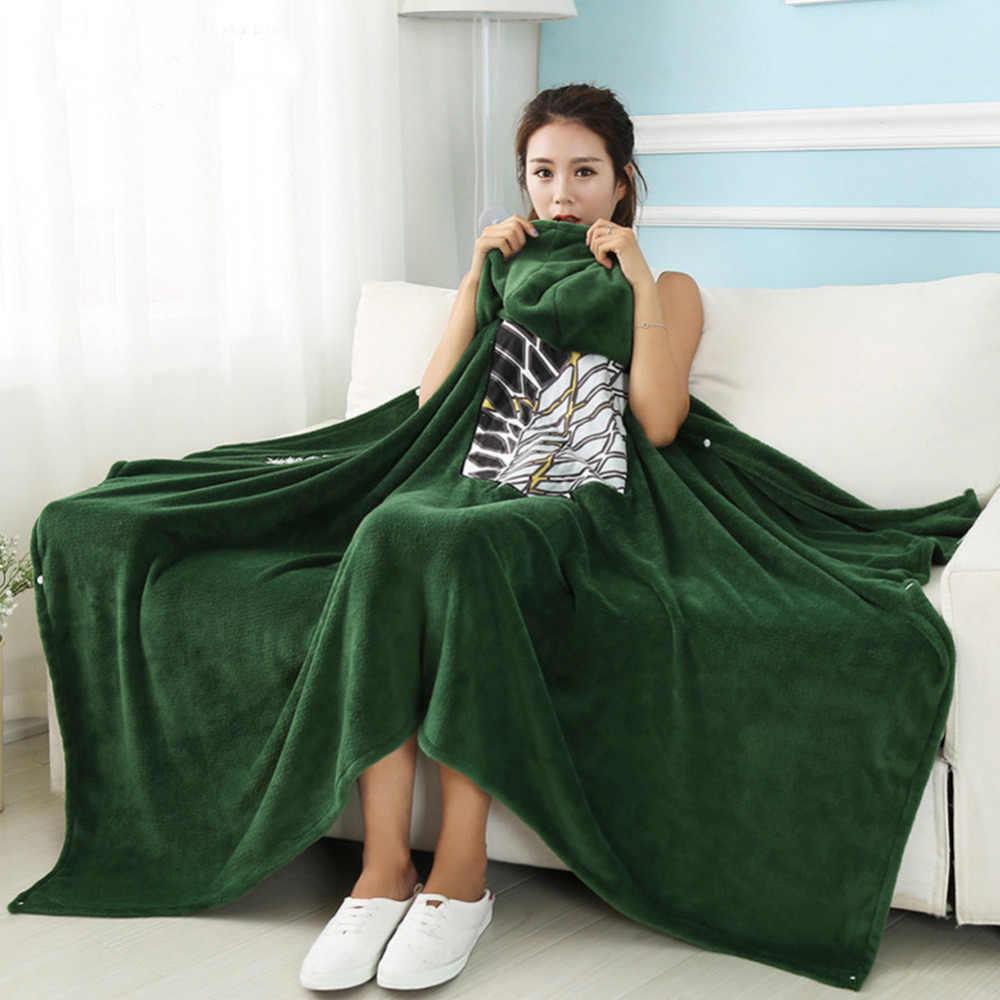 Attack on Titan Blanket Cloak Shingeki No Kyojin Survey Corps Cloak Cape Flannel Cosplay Costume ...