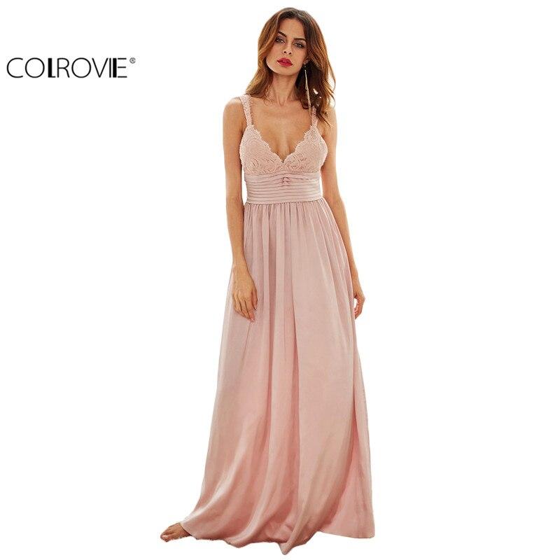 9d30f9e1f Colrovie señoras sexy nuevo estilo triángulo Rosa Encaje Top Deep V  Masajeadores de cuello plisado cintura vestido de vestir sin mangas