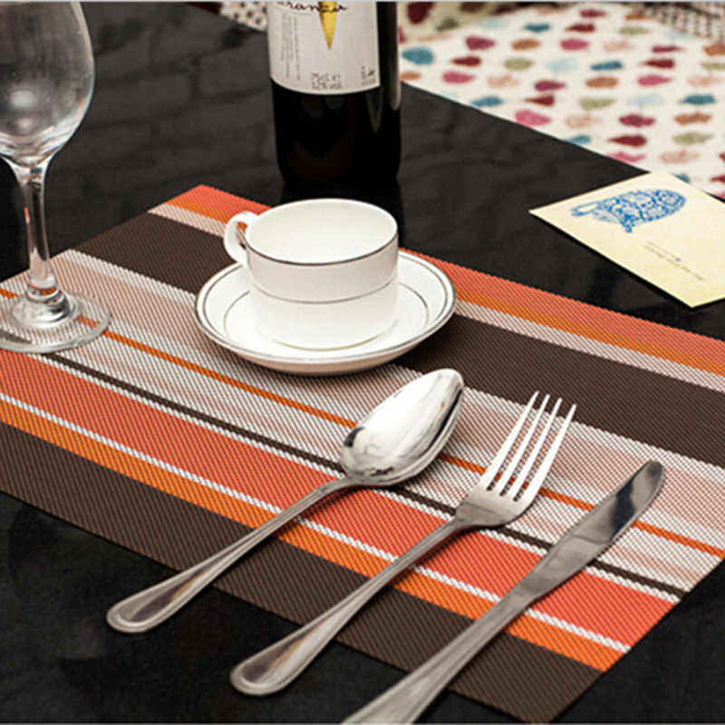 5 Color Pvc Placemat Dining Table Mat Silicone Pad Placemats for Table Waterproof Heat Insulation Placemats Kitchen Accessories