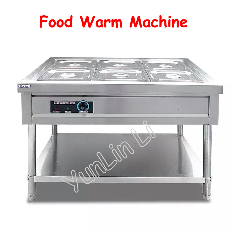 6 Basins Food Warmer Machine 220V Desktop Electric Thermal Soup Pool Warmer Soup Stove Insulation Machine