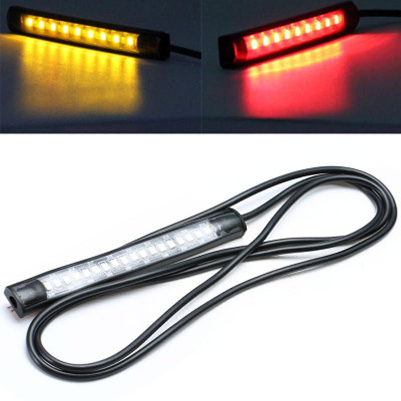 Motorcycle Lightings Led Light Strip Led 1.2w 12v Colorful Running Lights 18 Leds 4.7inch Motorcycle Strip Brake Light Led