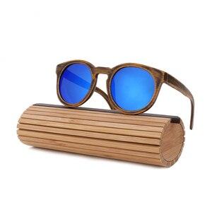 Image 5 - BerWer Round Frame Bamboo Sunglass 2020 Fashion Wooden Sunglasses Men Women Sun Glasses