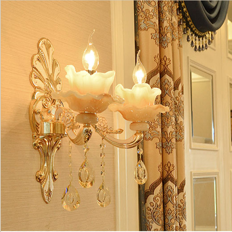 все цены на Imitation jade crystal wall lamp zinc alloy living room background wall lamp bedroom wall sconce villa hotel stair aisle lights
