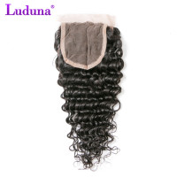 Luduna Brazilian Deep Wave 4x4 Lace Closure 100% Human Hair Bundles Non-remy Weave Natural Black Color Free Shipping