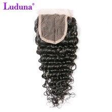 Luduna Brazilian Deep Wave 4x4 Lace Closure 100 Human Hair Bundles Non remy Weave Natural Black