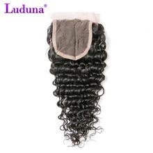 Luduna Brazilian Deep Wave 4×4 Lace Closure 100% Human Hair Bundles Non-remy Weave Natural Black Color Free Shipping