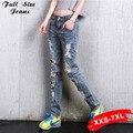 Boyfriend Jeans Rasgado Para As Mulheres Angustiado Calça Jeans Plus Size Feminina Casual Calças Dstoryed Retro Grande Buraco Do Vintage Xxxl 6Xl