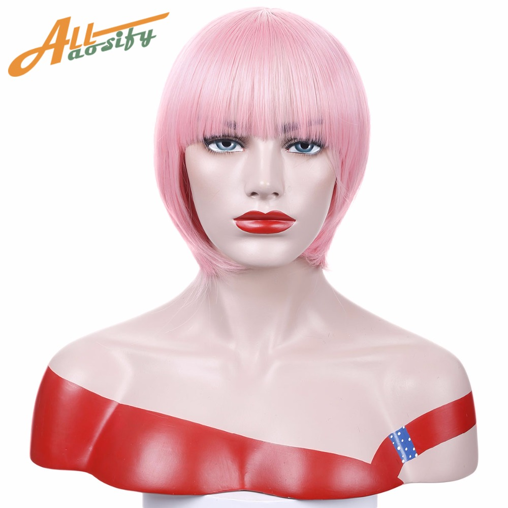 Allaosify Short Straight Bob Pink Wigs For Women Heat Resistant Synthetic Costume Cosplay Fun Wig With Bangs In Synthetic None Lace Wigs From Hair