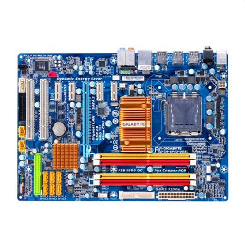 Original For Gigabyte GA EP43 UD3L Desktop Motherboard EP43 UD3L P43 Socket LGA 775 DDR2 ATX