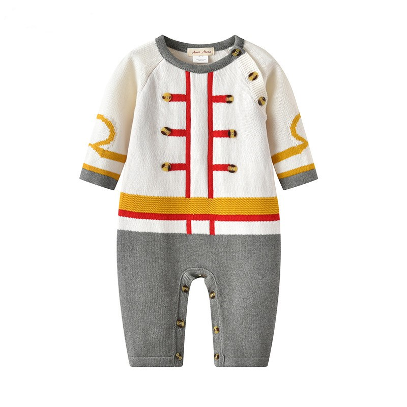 Baby Knitting Romper Autumn Cotton Warm Clothes Gentleman Style Boys Jumpsuit Toddler Long Sleeve Romper 2017 Infant C warm thicken baby rompers long sleeve organic cotton autumn
