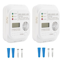 2 PCS 85dB White High Sensitive CO Detector Alarm Carbon Monoxide Smoke Alarm Security System Sensor