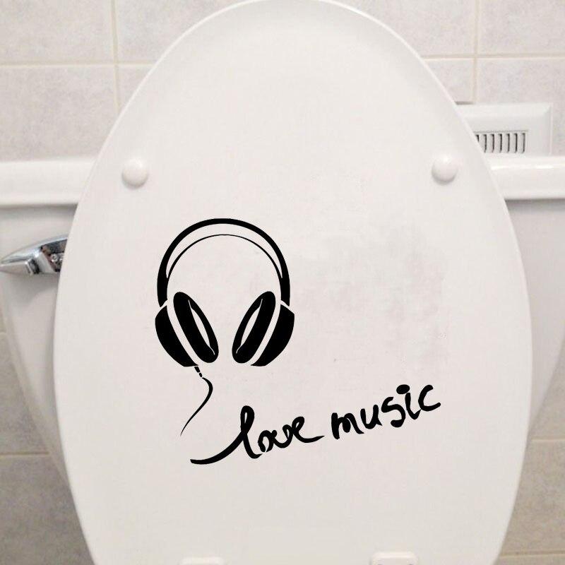 Наушники Любовь Музыка Мода Ванная комната настенные наклейки туалет Стикеры винил 6ws0101