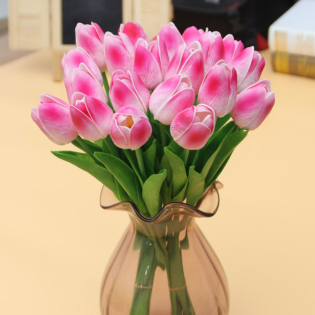 21pcslot pu mini tulip flower real touch flower bouquet artificial photo show izmirmasajfo
