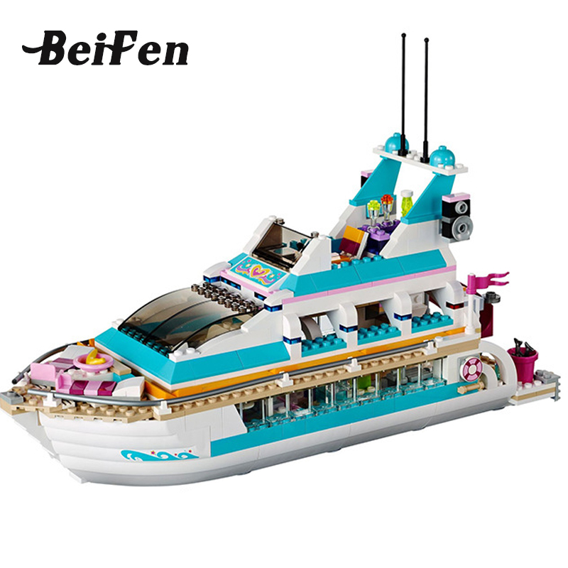lepine Building Blocks Bricks 41015 Friends Girl Series Dolphin Cruiser LegoINGlys Children toy girl Christmas gift Lepine 01044 lepine 16008 cinderella princess castle 4080pcs model building block toy children christmas gift compatible 71040 girl lepine