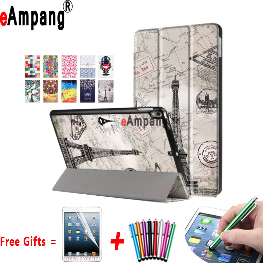 Painted Pu Leather Cover for Apple iPad Pro 10.5 Case Trifold Magnet Sleep-Awake Case for iPad Pro 10.5 with Stand Holder for apple ipad air 2 pu leather case luxury silk pattern stand smart cover