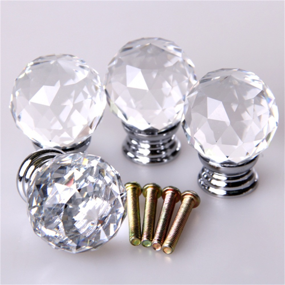 4pcs/set Crystal Glass Acrylic Door Knobs Drawer Cabinet