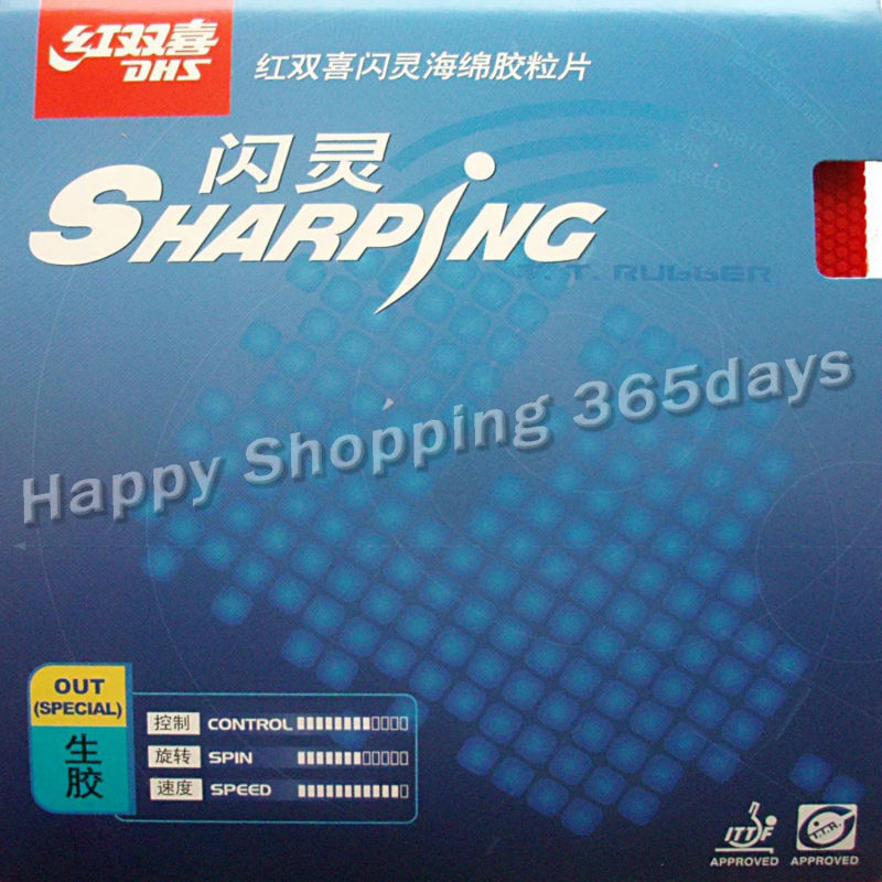 DHS Sharping Medium Pips-out Table Tennis / Pingpong Rubber With Sponge