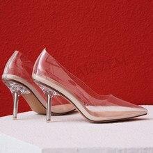 LAIGZEM – escarpins à talons en verre Transparent pour femmes, sandales en PVC de 8CM, chaussures de célébrité pour bal de promo, grande taille 34 41 42 43
