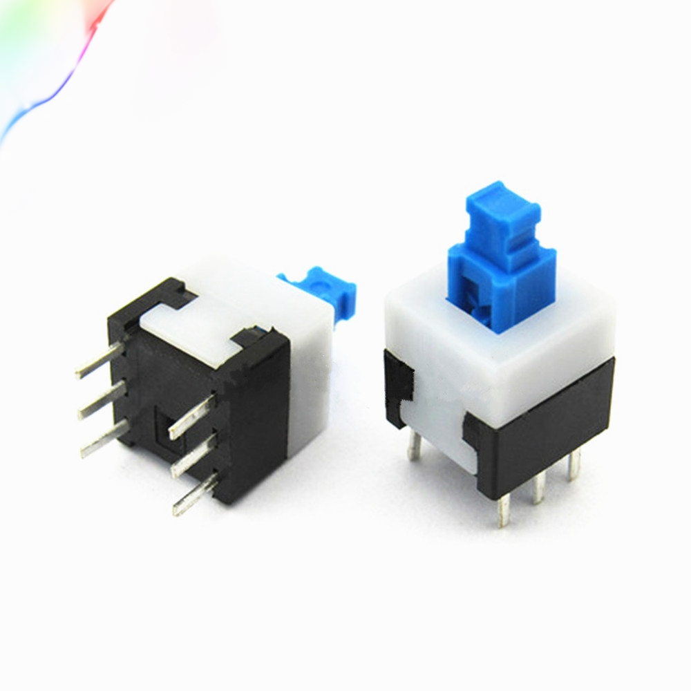 10PCS 8X8mm Blue Cap Self-locking Type Square Button Switch NEW
