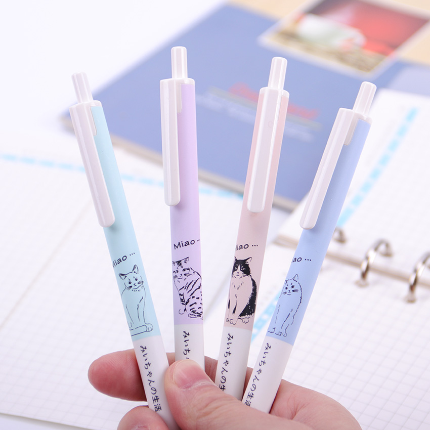 Office Stationery Kawaii Press Needle Cat Gel Pen 0.5mm Plastic Black Ink Pens School Student Writing Supplies G-3975