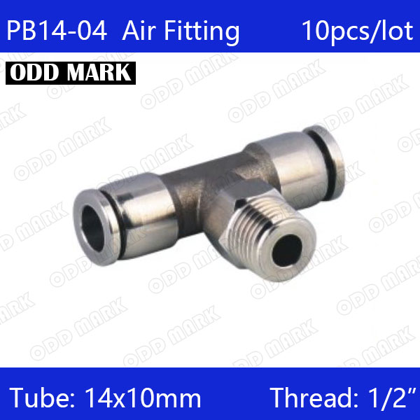 Free shipping 10pcs/lot 14mm to 1/2 PB14-04,304 Stainless Steel Tee Male Connector цена