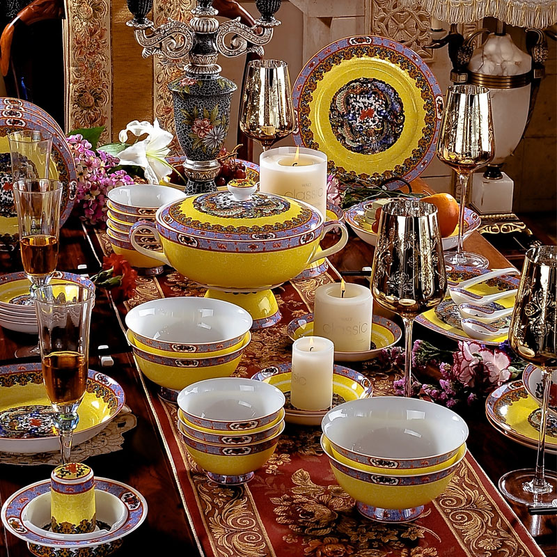Color Enamel Chine Lords Royal Crockery Sets of 60 Antique Design Dinnerware Set Bone China Imperial Household Style Tableware-in Dinnerware Sets from Home ... & Color Enamel Chine Lords Royal Crockery Sets of 60 Antique Design ...