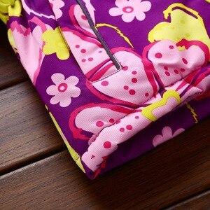 Image 5 - אופנה ילדים במשקל כבד תלבושות עמיד למים סגול הדפסת תינוק בנות מעילי חם כותנה חורף ילד מעיל 3 12 שנים