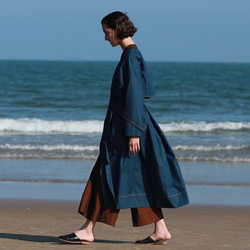 V Tranchée Surdimensionné Femmes Arrivée Irinaw138 Unique Poitrine Longues Denim Manteau Avec Ceinture Cou Nouvelle Bleu 2018 XZiukOPTw