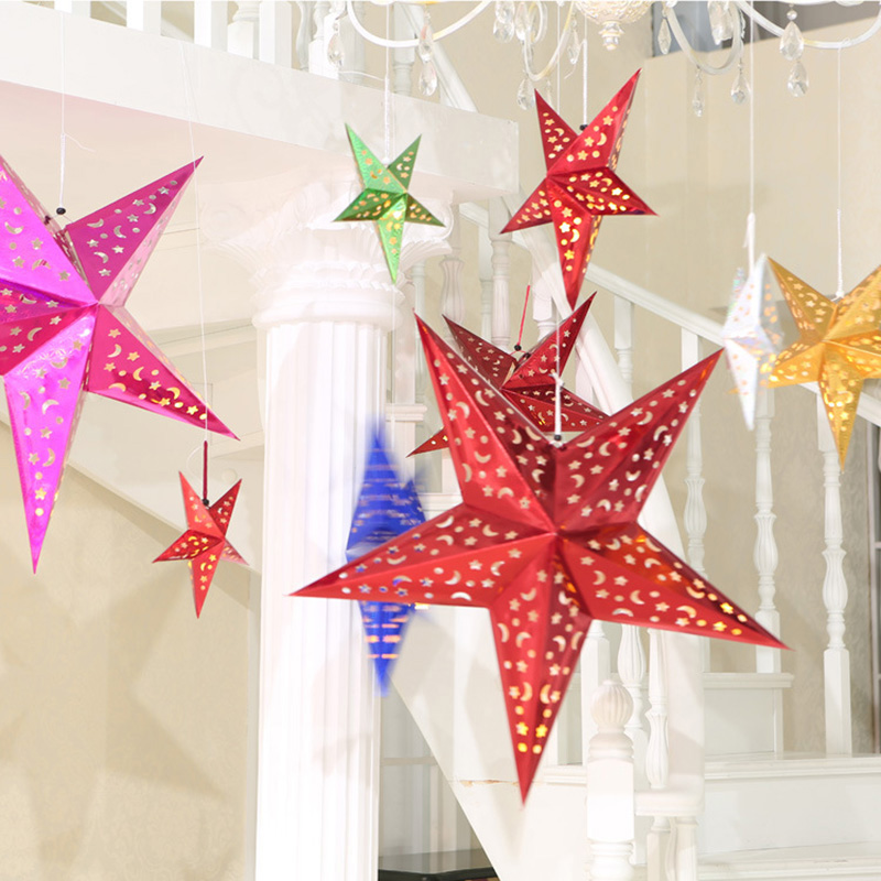 30cm/45cm/60cm Shiny Star Lantern 3d Pentagram Lamps Hanging Christmas Xmas Tree Ornaments Christmas Decoration For Home Available In Various Designs And Specifications For Your Selection Christmas Pendant & Drop Ornaments
