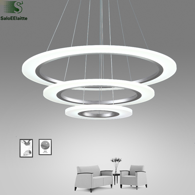 Modern DIY Aluminum Rings Led Pendant Lights Lustre Acrylic Bedroom Lamp Dining Room Cord