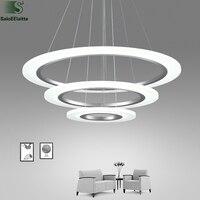 Nordic DIY Acrylic Ring Led Pendant Chandelier Lighting Lustre Aluminum Bedroom Led Chandeliers Lamp Dining Led