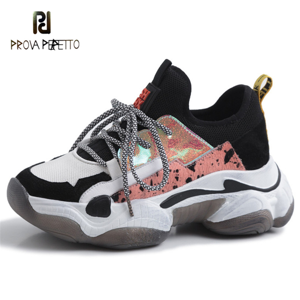 Prova Perfetto New Fashion Lace up Women Shoes Leather Horsehair Platform Sneakers Women Round Toe Casual