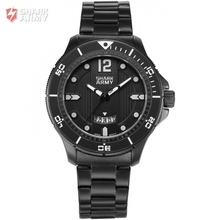 SHARK ARMY Sport Watch Full Black Steel Band Date Display 3 ATM Waterproof Quartz Military Men
