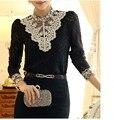 Spring Lace Shirt Women Embroidery OL Blouse Work Wear Formal Slim Turtleneck Long Sleeve Tops Plus Size S-3XL T6202
