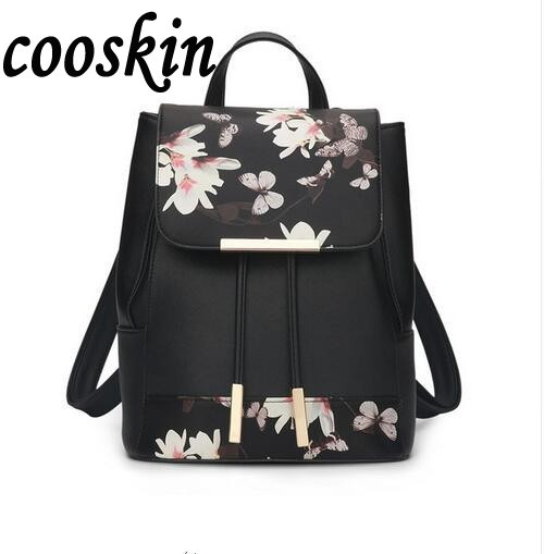 New Flower Women Drawstring Backpack Fashion School Lady Casual Print Backpack High Quality PU Leather School