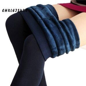 Image 2 - Chrleisure quente feminino mais veludo inverno leggings tornozelo comprimento manter quente sólida calças de cintura alta tamanho grande leggings femininas