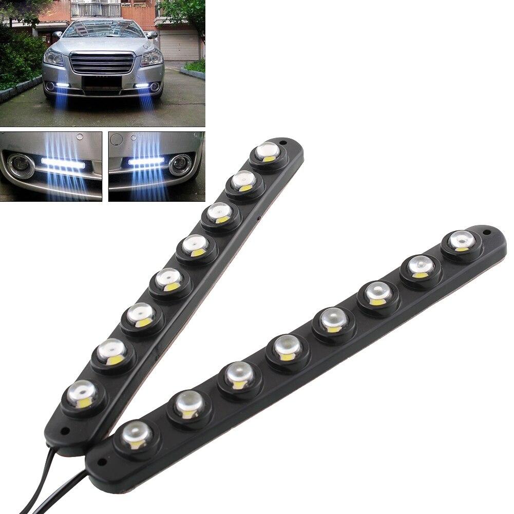 Vehemo 2x Car Van 8 LED Bright Safe Reliable DRL Daytime Running Light Driving Saving White Fog Lamp DC12V