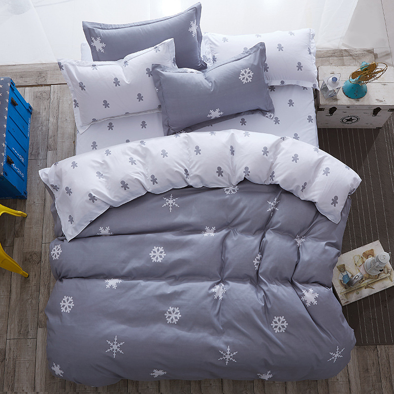 Gray Snowflake Print Comforter Bedding Sets Sheet Pillowcase Quilt Cover 100%Cotton Bedlinen Twin Full Queen King Nordic Style